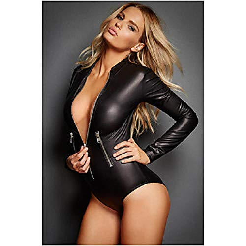 Kostüm Assassine Muster - SINYUEE Frauen Ninja Assassin Mehr Uniformen Nachtclub Jumpsuits Zentai Suits Cosplay Kostüm Catsuit Solid Color Leotard/Onesie Zentai, Schwarz,Weiblich,XL