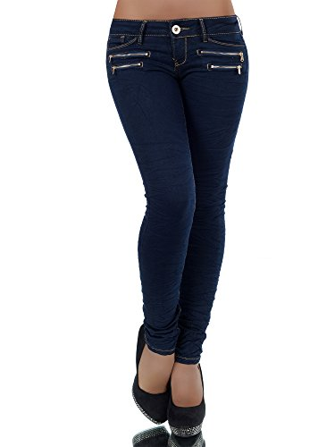 L851 Damen Jeans Hose Hüfthose Damenjeans Hüftjeans Röhrenjeans Röhrenhose Röhre, Größen:36 (S), Farben:Marineblau