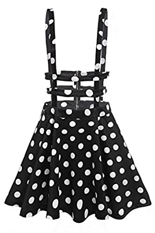 FINEJO Womens Girls Sweet Floral High Waist Mini Skirt (XX-Large, Black and White)