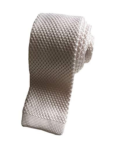 The Kooples pour homme 100% soie tricoté Skinny Cravate Manche fin Lame carrée Blanc ivo