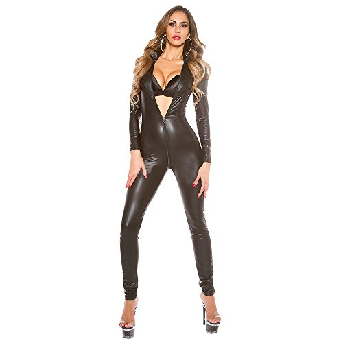 Sexy Bodys Dessous Lederlook Overall Jumpsuit,Reißverschluß Bodysuit Damen -