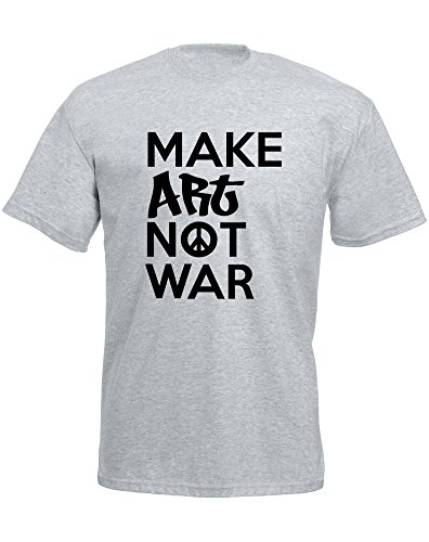 Brand88 - Brand88 - Make Art Not War, Mann Gedruckt T-Shirt Grau/Schwarz