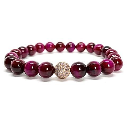 good. Designs Bracelet Perles de verts/rouges Tiger Yeux de pierres