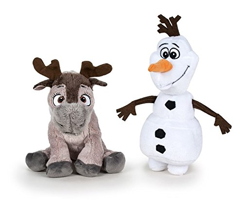 Disney Frozen: Il Regno di Ghiaccio - Pack 2 peluches Qualità super soft - Olaf pupazzo di neve 20cm + Sven la renna 17cm