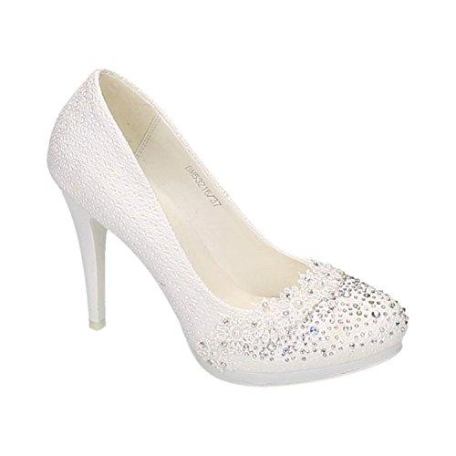 Damen Brautschuhe Hochzeit Pumps Weiß Strass Nieten Stilettos Elegant High Heels Plateau Abend Schuhe Bequem (39, Weiß 16)