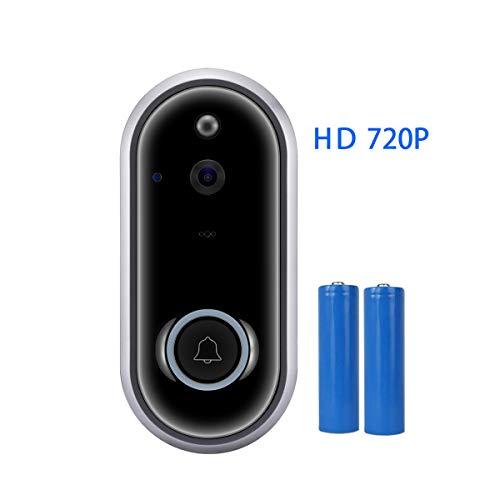 Videocitofono wifi,campanello senza fili citofono wireless con fotocamera 720p allarme casa senza fili con visione notturna,rilevamento del movimento,audio bidirezionale e app per android ios