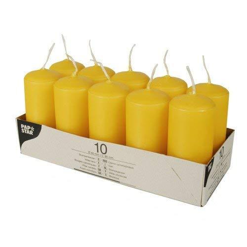 Papstar 17917, 10 velas taco, diámetro 40 mm, altura 90 mm, amarillo dorado
