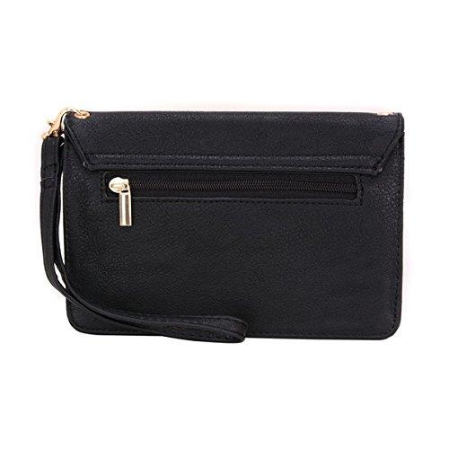 Conze da donna portafoglio tutto borsa con spallacci per Smart Phone per HTC One X9/S9/M9Prime Camera Edition Grigio Grey Black