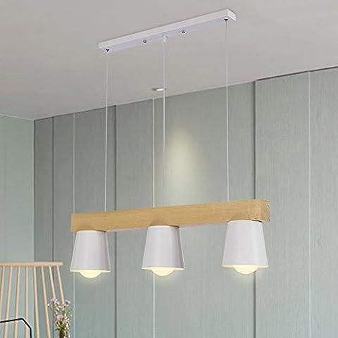 TRIOY Life Pendelleuchte Hängeleuchte Nordic Weiß Kronleuchter Deckenlampen Holz und Metall Deco lampe Beleuchtung 3 Flammig Höhenverstellbar Modern Design für Esstisch Esszimmer Wohnzimmer E27 ø70cm TL0157 (Leuchtmittel nicht enthalten)