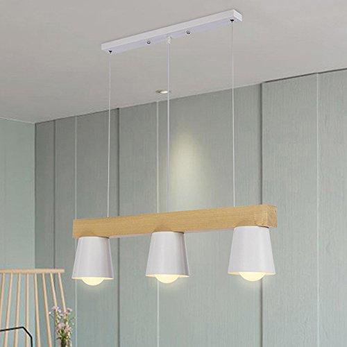 Holz-kronleuchter (TRIOY Life Pendelleuchte Hängeleuchte Nordic Weiß Kronleuchter Deckenlampen Holz und Metall Deco lampe Beleuchtung 3 Flammig Höhenverstellbar Modern Design für Esstisch Esszimmer Wohnzimmer E27 ø70cm TL0157 (Leuchtmittel nicht enthalten))