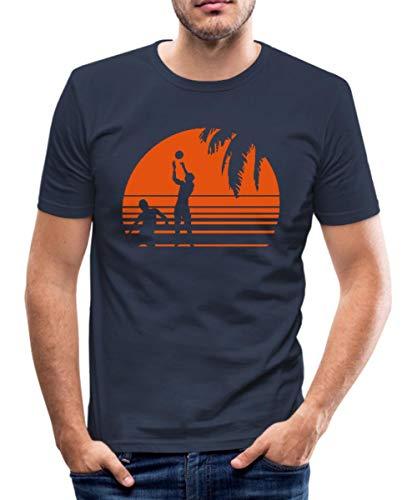 Beach Volleyball Männer Slim Fit T-Shirt, L, Navy