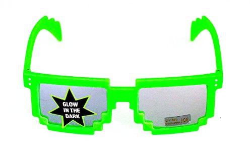 Pixel-Brille Grün Verspiegelt Sonnen-Brille Wayfarer Nerd-Brille leuchtend ohne Sehstärke 15cm...
