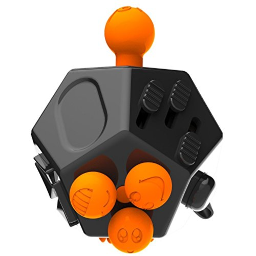Uolor 12 Sides Fidget Dice, Upgraded Fidget Cube Keep Focused and Calm Stress Anxiety Relief Toy for Children and Adults - Black -