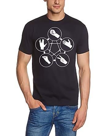 Coole-Fun-T-Shirts Herren T-Shirt Big Bang Theory - Stein Schere Papier Echse Spock, Navy-weiss, S, 10813_Navy_weiss_GR.S