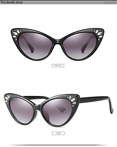 DAIYSNAFDN Männer und Frauen Cat Eye Sonnenbrillen Retro Strass Sonnenbrillen Sexy Sonnenbrillen Black