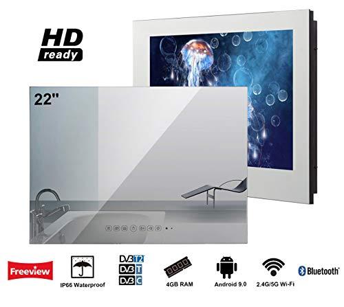 Soulaca 22-Zoll Smart Android IP66 Wasserdichter Badezimmer Fernseher, mit Stylischer Spiegel-Front, HD Ready, mit Wi-Fi/Integrierte Lautsprecher (Fernseher 22 Zoll Smart Tv)
