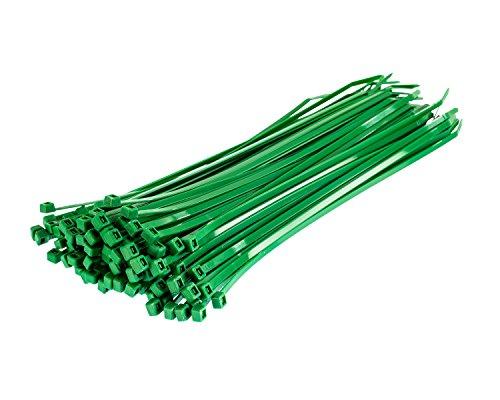1000 Stück Einmal-Bänder - 200 mm x 4,8 mm - hohe Qualität Starkes Nylon Kabelbinder von Gocableties, grün (Nylon Kabelbinder Grün)
