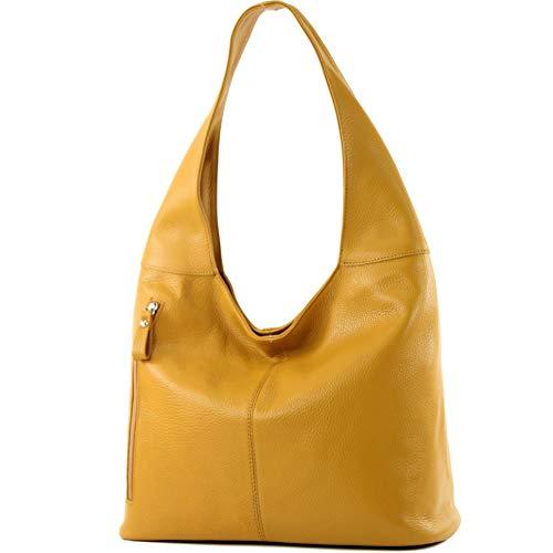 modamoda de - ital Große Schultertasche aus Leder T166, Senfgelb, siehe Beschreibung - Gelbe Flache Geldbörse