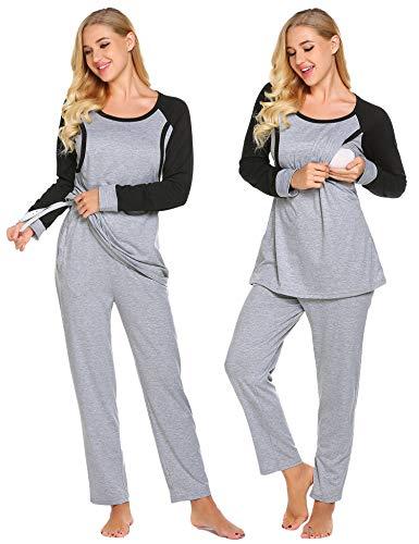 Umstandsmode Schlafanzug Damen Langarm Stillpyjama Nachtwäsche inkl. Oberteil Hose für Schwangere Frauen Herbst (Grau+Schwarz, S) - Mutter Nachthemd
