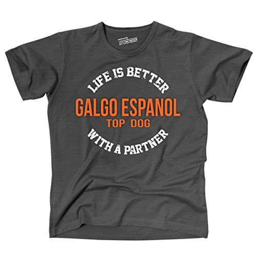 Siviwonder Unisex T-Shirt GALGO ESPANOL - LIFE IS BETTER PARTNER Hunde Dark Grey