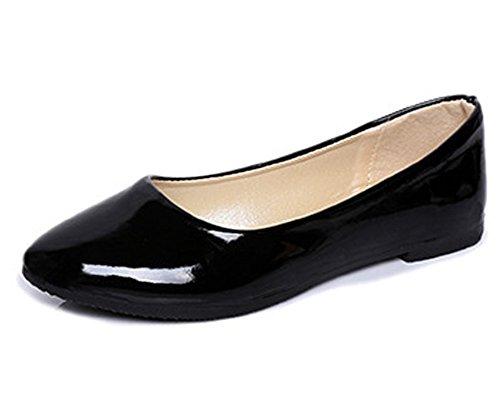 Minetom Femmes Élégant Faux Cuir Chaussures Plates Été Printemps L'Automne Casual Danse Chaussures