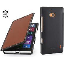 StilGut Book Type funda exclusiva en piel auténtica para el Nokia Lumia 930, marrón - nappa/negro