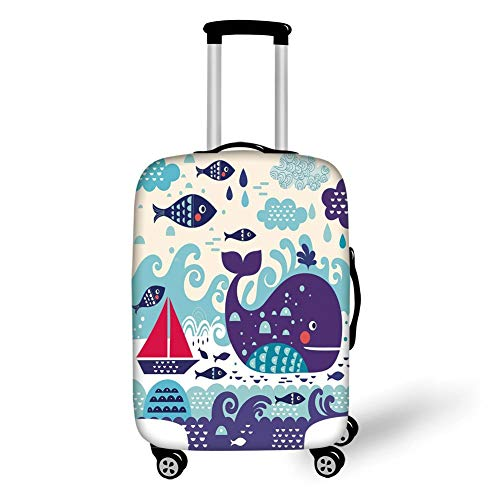 Travel Luggage Cover Suitcase Protector,Ocean Animal Decor,Marine Traffic with Whale Sailboat and Fish with Cloud and Waves Print,Purple,for Travel M Black Skull Hard Case