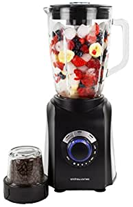 Andrew James Black Deluxe Glass Jug Blender And Grinder With Smoothie Maker And Ice Crusher Functions, 1.5 Litre