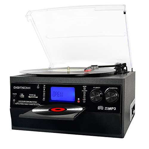 DIGITNOW! Vinile Giradischi con Bluetooth, CD, cassetta, AM/FM e Aux in radio con porta USB e telecomando encoder SD, altoparlante stereo incorporato, lettore musicale autonomo, telecomando