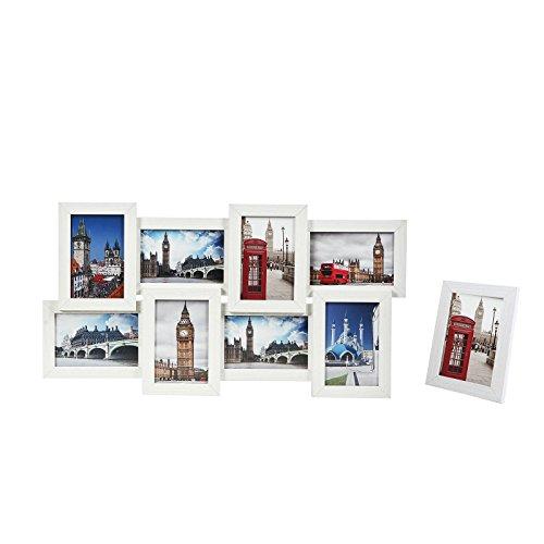 """Songmics Bilderrahmen Collage für 8 Fotos je 10 x 15 cm (4 x 6"""") + 1 x einzelner Fotorahmen aus MDF-Platten Weiß RPF108W"""