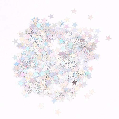 Hermosapoty Konfetti Dekoration Weihnachten Sterne Pailletten DIY Konfetti Sprinkles Hochzeit Geburtstag Ballon Party Decor Dazzling Silver
