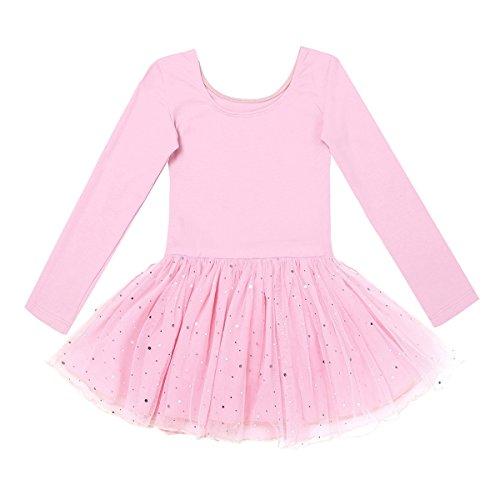 Kostüm Ballett Kleid (Freebily Kinder Ballettanzug Langarm Trikot Tanzbody mit Röckchen Mädchen Ballett Kleider Tanzkleid Ballettoutfit Kostüm 98-158 Rosa 140/10)