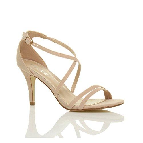 Femmes talon moyen haut lanières croisé mariage bal sandales chaussures taille Nude Beige Daim