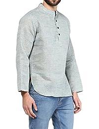 VIVIDS INDIA MEN'S Cotton Short Kurta (Light Blue , G-143 - $P)