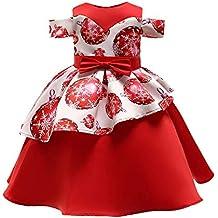 POLP Niño Navidad Niña Vestido de Princesa de Papá Noel con Estampado Navidad  Bebe Ropa Disfraz 07706479bb3