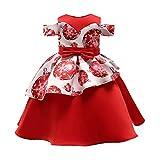 POLP Niño Navidad Niña Vestido de Princesa de Papá Noel con Estampado Navidad Bebe Ropa Disfraz Bebe Navidad Regalo de Papá Noel de Una Hombro Bebe Invierno Rojo 12 meses-7años Rojo
