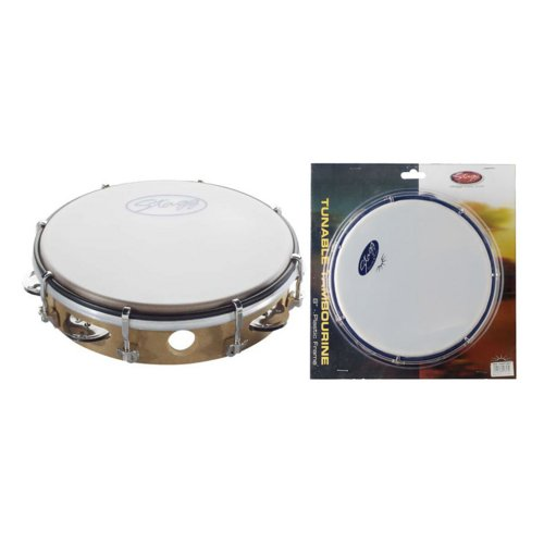 STAGG TAB 108P/WD 8 TUNEABLE PLASTIC TAMBOURINE  1 ROW   WOOD COLOUR