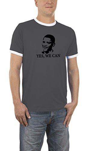 Touchlines Herren Kontrast/Ringer T-Shirt Barack Obama YES WE CAN, darkgrey/white, L, B5031 (Obama Ringer)