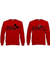 Mr & Mrs Couple amoureux Mickey Minnie Mouse Pull Sweat à capuche
