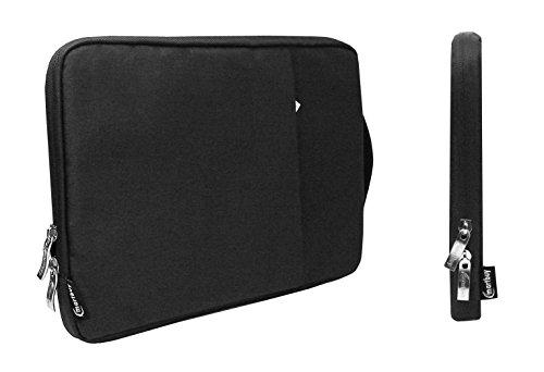 emartbuy Universal 13.3-14 Zoll Kohle Schwarz Tasche Stoff Tragetasche Deckel mit Einziehbarer Griff und Reißverschlusstasche Geeignet für Ausgewählte Laptops Notebooks Ultrabooks Aufgeführt Unten