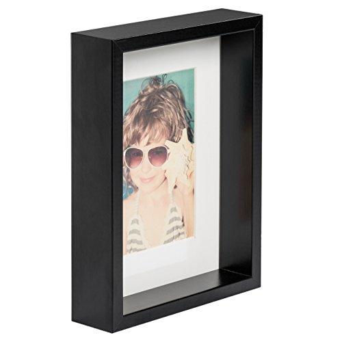 15 x 21 cm Box Cadre Photo avec Passe-Partout 10 x 15 cm, NOIR