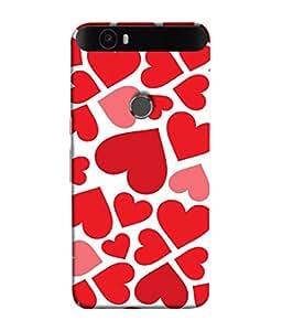 Fuson Designer Back Case Cover for Huawei Nexus 6P :: Huawei Google Nexus 6P (heart shapes line square love )