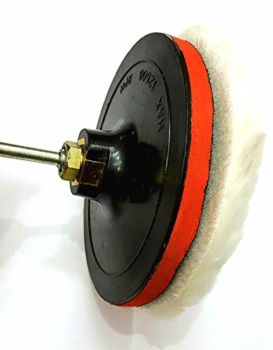 TOOLS CENTRE M14 5'(125MM) VELCRO BACKUP PAD & WOOL PAD FOR CAR POLISHER AND DRILL MACHINE WITH M10 SPINDLE/ADAPTOR