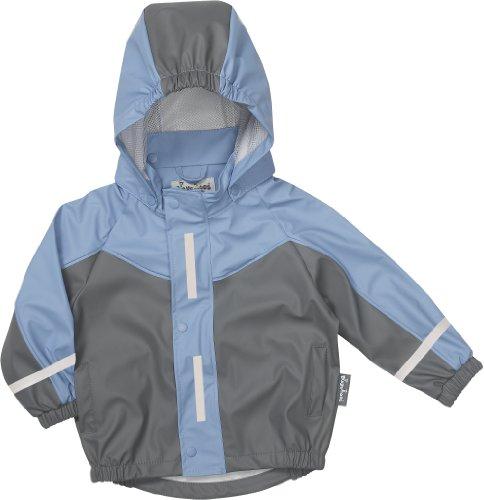 Playshoes Unisex Baby Regenbekleidung 408650 Sportliche Regenjacke für Kinder, mit Reflektoren, Oeko-Tex Standard 100, Grau (hellblau/grau ), 80