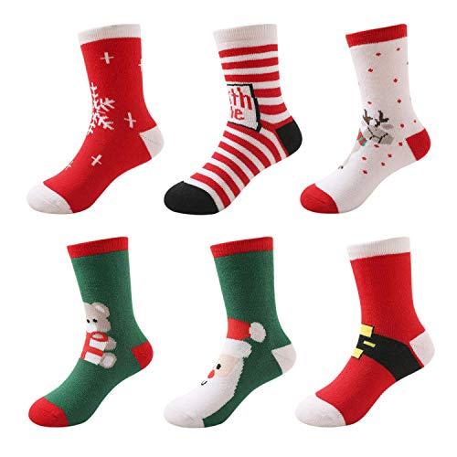 DEBAIJIA Weihnachten Auflage Baby Kinder Tube Socken Set(6er Pack) Jungen Mädchen Feierlich Baumwolle Weihnachtssocken - S(1-3 Jahre) Weihnachten Baby Set