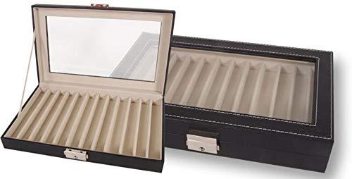 Caja expositor de piel para 12 bolígrafos o plumas con tapa transparente y cierre de seguridad con llave. Medidas: 25,7 x 16,5 x 5 cm