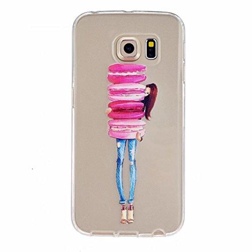 Preisvergleich Produktbild MUTOUREN für Samsung Galaxy S6 Edge Transparent TPU Silikon Schutz Handy Hülle Case Cover [Kratzfeste,  Scratch-Resistant] Hülle Schutzhülle Crystal Kirstall Durchsichtig Fall-Abdeckung Etui TPU Bumper Schale - Hamburg Mädchen