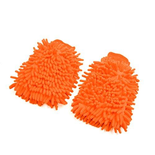 Chenille-2 Stück (sourcingmap 2 Stück Universal Orange Chenille Waschen Reinigung Handschuhe für Auto Fahrzeug)