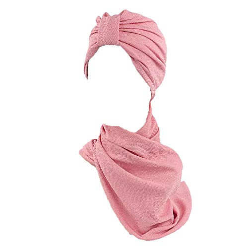 Pluto & Fox Turban Kopf Schal Beanie Damen Einfarbig Für Krebs Chemo Onkologischen Chemotherapie Haarausfall (Rosa) (Fox Bandana)