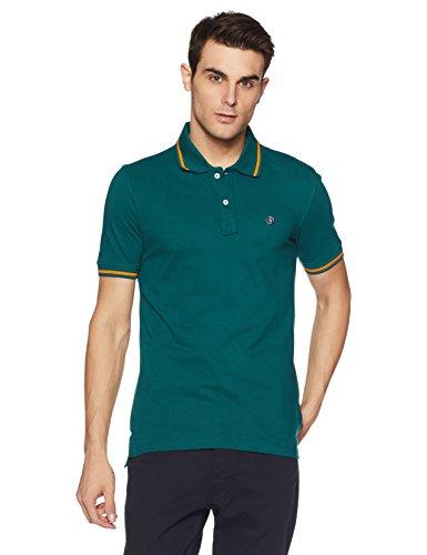 Symbol Men's Collar-Tipping Cotton Polo T-Shirt (AW17PLK61_XL_Viridian)